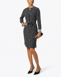 Rosso35 - Black and White Dot Print Silk Dress