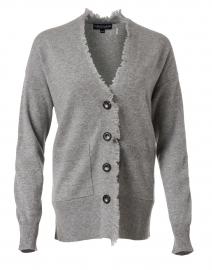 Light Grey Cashmere Fringe Trim Cardigan