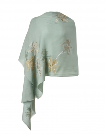 Light Blue and Gold Garden Embroidered Wool Scarf