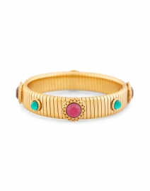 Strada Teal and Magenta Stoned Gold Thin Bracelet