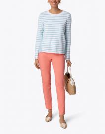 Marc Cain - Light Aqua and White Striped Cotton Sweater