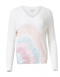 White Sunburst Tie Dye Cotton Sweater