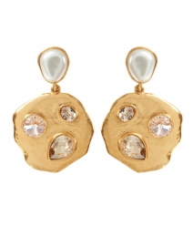 Gold Bezel Set Stone and Metal Disk Earrings