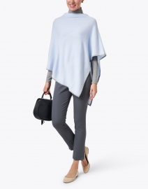 Kinross - Light Blue and Grey Cashmere Poncho
