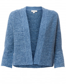 Blue and White Marled Cotton Cardigan