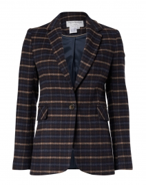 Navy and Camel Plaid Wool Blazer