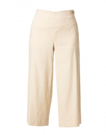 Pale Peach Cropped Wide Leg Linen Pant