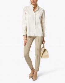 Peserico - Beige and Hazel Stripe Stretch Cotton Shirt