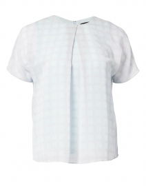 Emporio Armani - Light Blue Large Check Print Chiffon Top