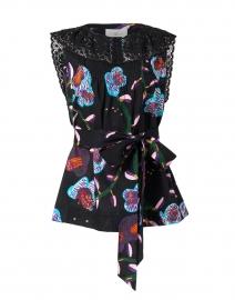 Soler - Carmen Black Floral Cotton and Lace Top