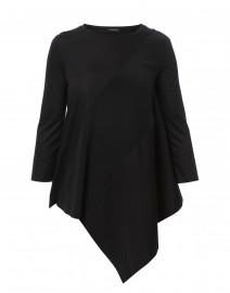 Black Mixed Media Jersey Silk and Poplin Tunic