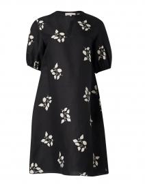 Ida Black Leaf Print Silk Dress