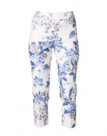 Brigitte Blue Floral Print Cropped Pull-On Pant