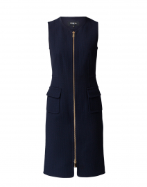 Navy Pique Zip Front Dress