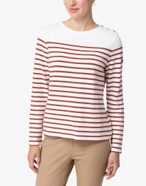 Saint James - Huez Ivory and Rust Striped Cotton Sweater