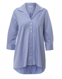 Betty White and Blue Striped Cotton Tailored Knit Shirt
