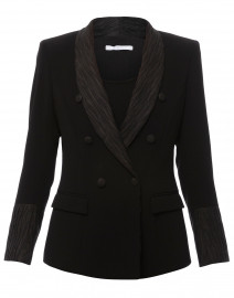 Tala Black Blazer with Satin Pleated Lapel and Cuffs