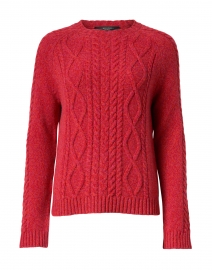 Monviso Red Cashmere Wool Cable Knit Sweater