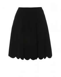 Black Knit Scalloped Hem Skirt