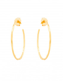Gold Thin Hammered Hoop Earrings