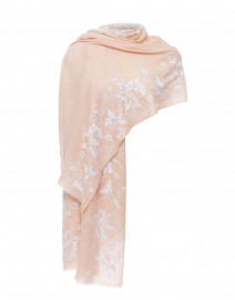 Nude Floral Embroidered Merino Wool Scarf