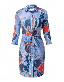 Blue Saddle Printed Twist Front Dress