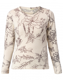 White and Black Floral Printed Silk Cashmere Sweater