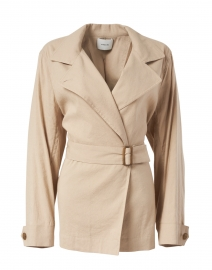 Clay Beige Belted Linen Jacket