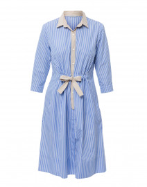 Blue and White Striped Cotton Shirt Dress