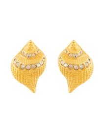 Gold and Crystal Seashell Clip Earrings