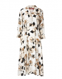 Vignola White and Beige Floral Silk Dress