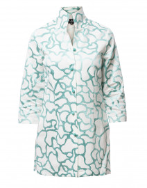 Rita Mint Embroidered Linen Silk Top