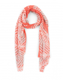 Coral Tile Printed Silk and Cashmere Scarf
