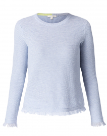 Twiggy Blue Foam Cotton Frayed Sweater
