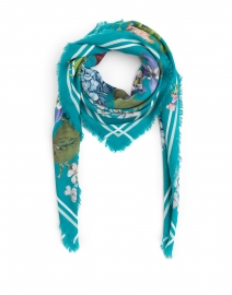 Marilyn Teal Floral Printed Wool and Cashmere Scarf