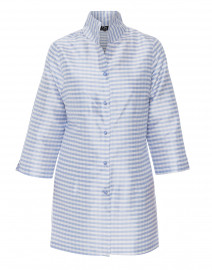 Rita Lavender and White Gingham Silk Top