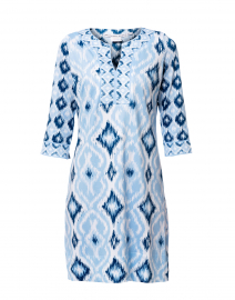 Kitt Blue Ikat Printed Jersey Dress