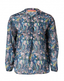 Camilla Teal and Pink Floral Feather Print Blouse