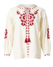 Brinn Ivory and Bordeaux Embroidered Top