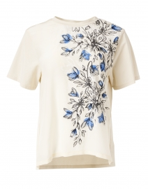 Jajce White and Blue Floral Stretch Cotton and Silk Tee