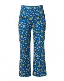 Dova Blue Paisley Print Stretch Cotton Pant