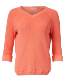 Coral Pima Cotton Shaker Sweater