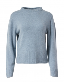 Blue Drop Shoulder Mock Neck Sweater