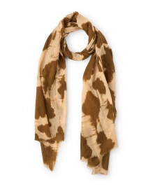 Camel Abstract Print Wool Silk Scarf