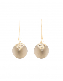 Warm Grey Crystal Origami Dangling Sphere Earrings