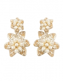 Camellia Pearl Drop Post Earrings