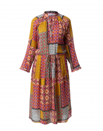 Cascais Pink and Yellow Patchwork Print Cotton Dress