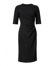Duncania Black Pinstriped Jersey Dress