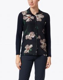 WHY CI - Navy Floral Print Wool Silk Shirt