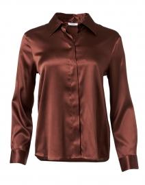 Carob Brown Stretch Silk Shirt